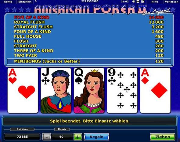 American Poker 2 Gewinntabelle